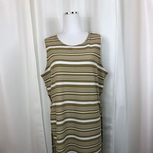 Ashley Stewart Tan Striped Shirt
